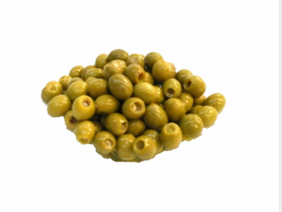 Natural green pitted olives