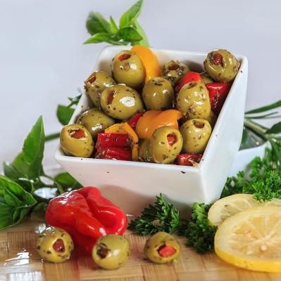 Stuffed green olives with red pepper -