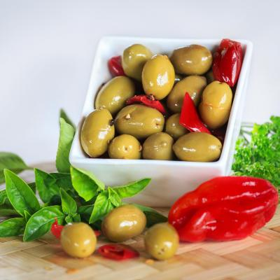 Picholines olives with chilli peper and garlic - AOP France